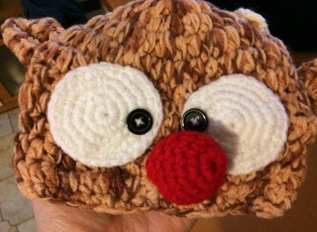 Cappellino a renna per neonati fatto a mano in filo di cotone