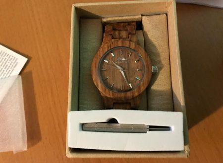 Amexi orologio da polso in legno da uomo