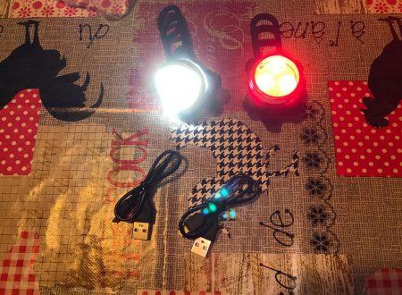 Yica kit illuminazione bicicletta con lampada frontale e posteriore ricaricabili via USB