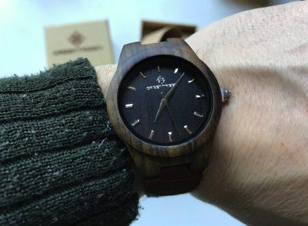 Greetree orologio in legno con cinturino jeans e cuoio