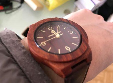 Greentreen orologio in legno con cinturino in cuoio da uomo