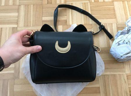 Itian borsetta nera in similpelle con orecchie da gatto