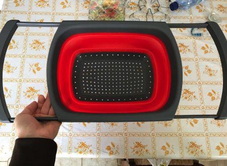Itian scolapasta pieghevole in silicone con manici regolabili per tutti i lavelli