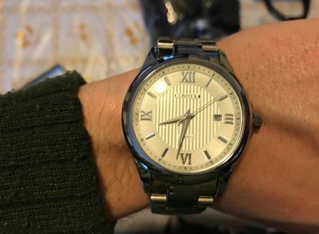Comtex orologio da uomo con bracciale in acciaio (quadrante bianco con numeri romani)