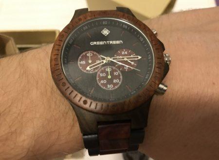 GreenTreen orologio in legno di Sandalo Rosso con cronografo impermeabile
