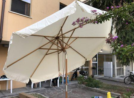 Sekey ombrellone solare da giardino UV50+ da 270cm con struttura in legno