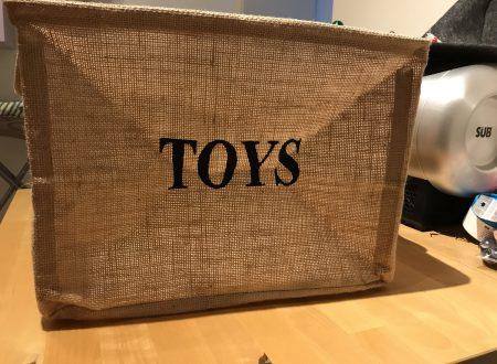 Tougo cesta per giocattoli in juta con interno plastificato 43x33x30,5cm