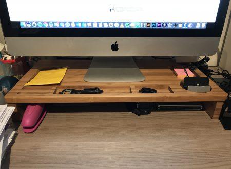 Homfa supporto in legno da scrivania per Monitor o iMac