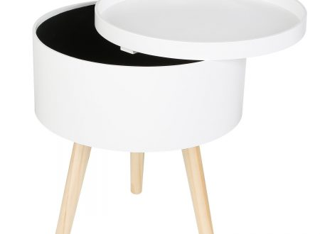 Homfa tavolino da salotto piccolo rotondo con contenitore e coperchio